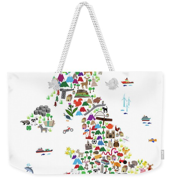 Animal Map Of Great Britain For Children And Kids Weekender Tote Bag