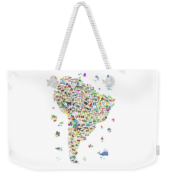 Animal Map Of South America For Children And Kids Weekender Tote Bag
