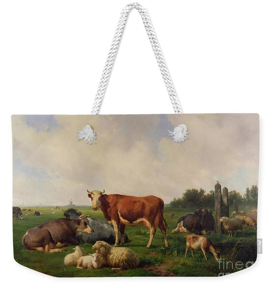 Animals Grazing In A Meadow  Weekender Tote Bag
