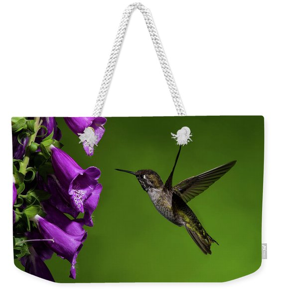 Anna's Hummingbird With Fox Glove Flowers Weekender Tote Bag