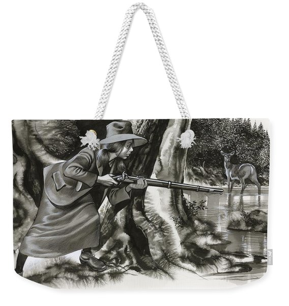 Annie Oakley Shooting A Buck Weekender Tote Bag
