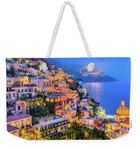 Weekender Tote Bag featuring the digital art Another Glowing Evening In Positano by Rosario Piazza