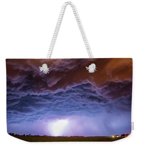 Weekender Tote Bag featuring the photograph Another Impressive Nebraska Night Thunderstorm 007 by NebraskaSC