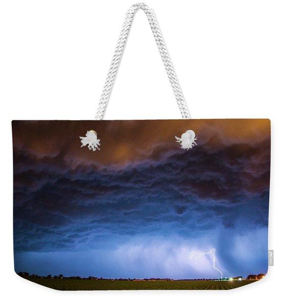 Weekender Tote Bag featuring the photograph Another Impressive Nebraska Night Thunderstorm 008/ by NebraskaSC
