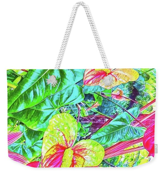 Anthuriums Pink And Turquoise Weekender Tote Bag