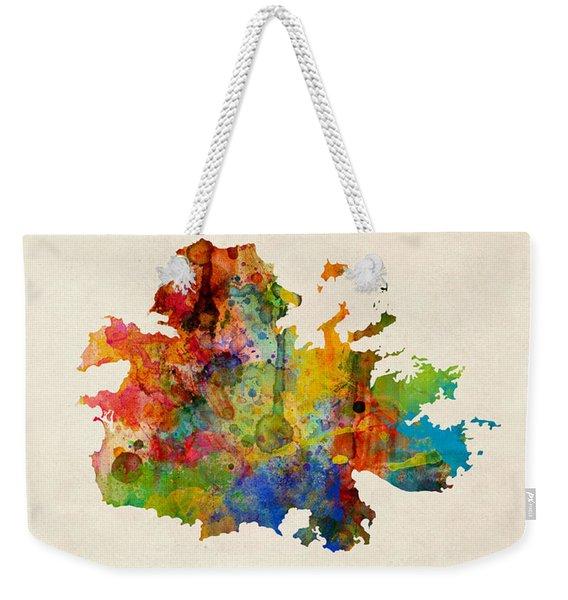 Antigua Watercolor Map Weekender Tote Bag