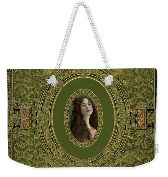 Antique Book Cover With Cameo - Green And Gold Weekender Tote Bag