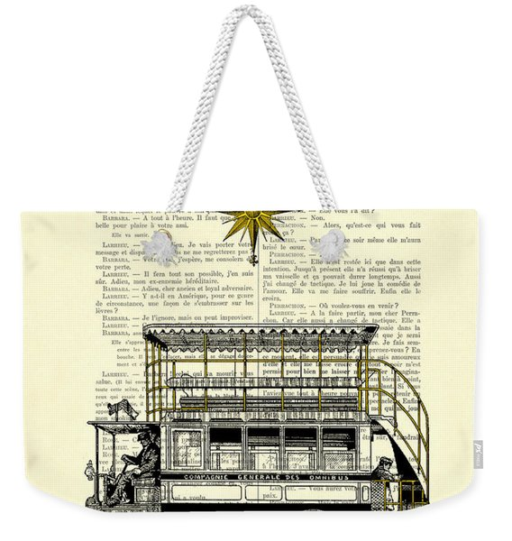 Double-decker Bus Vintage Illustration Dictioanry Art Weekender Tote Bag
