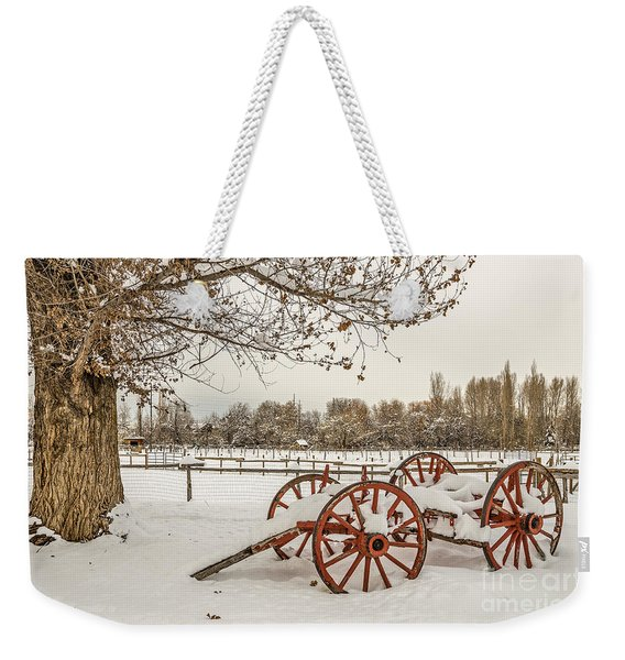 Antique Cart With Snow Weekender Tote Bag