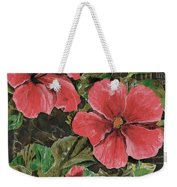 Antique Hibiscus Black 2 Weekender Tote Bag