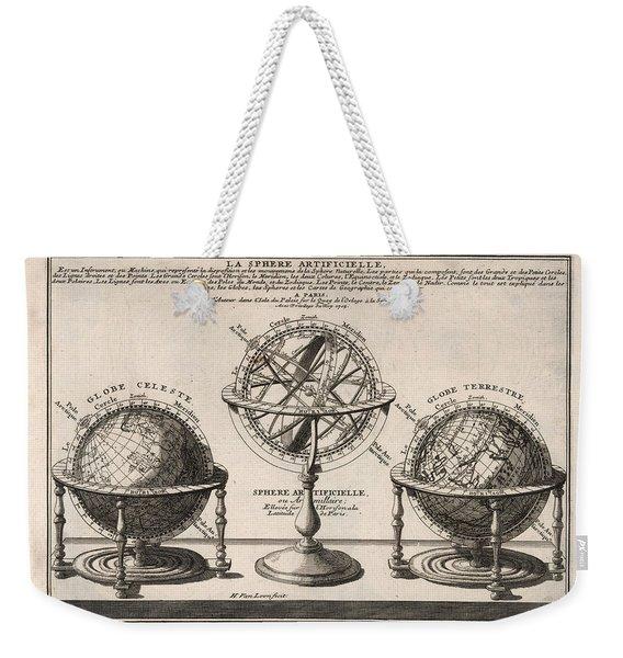 Antique Illustration Of The Globe - Sphere Artificielle - Terrestrial Globe - Celestial Globe Weekender Tote Bag