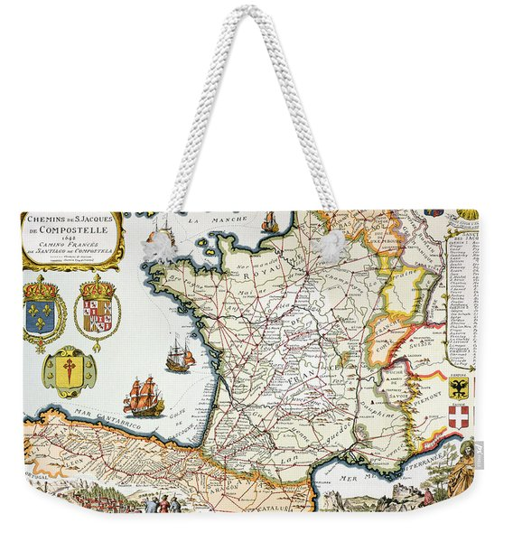 Antique Map Of France Weekender Tote Bag