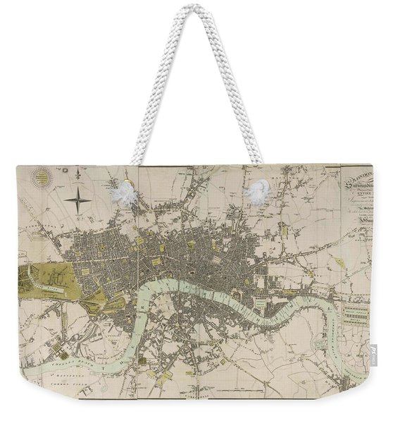 Antique Map Of London - Old Cartographic Maps - London In Miniature, 1807 By Edward Mogg Weekender Tote Bag