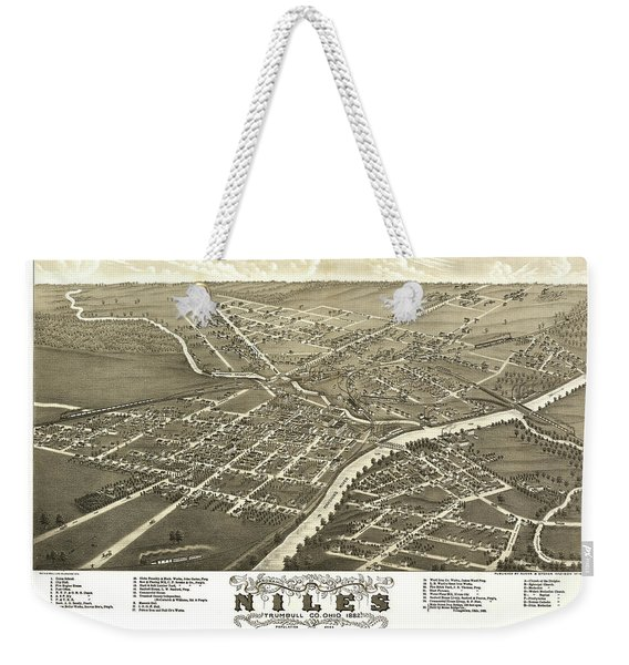 Antique Map Of Niles Ohio 1882 Weekender Tote Bag
