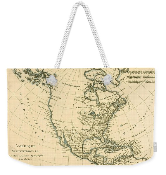 Antique Map Of North America Weekender Tote Bag