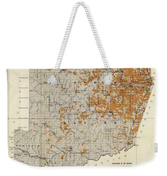 Antique Map Of The Creek Nation 1889 Weekender Tote Bag