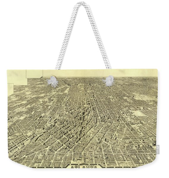 Antique Maps - Old Cartographic Maps - Antique Birds Eye View Map Of Atlanta Weekender Tote Bag