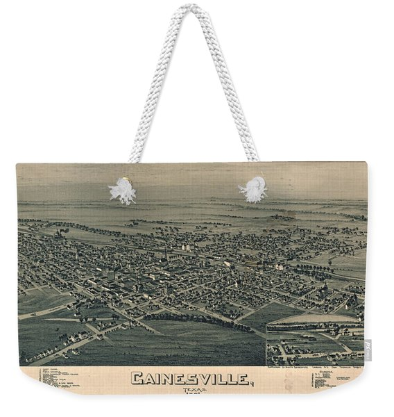 Antique Maps - Old Cartographic Maps - Antique Birds Eye View Map Of Gainesville, Texas, 1891 Weekender Tote Bag