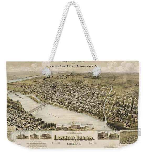Antique Maps - Old Cartographic Maps - Antique Birds Eye View Map Of Laredo, Texas, Mexico, 1892 Weekender Tote Bag