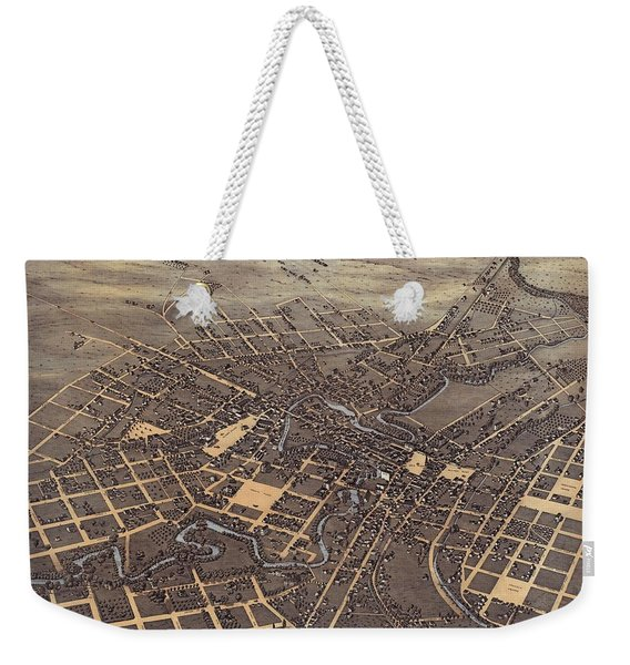 Antique Maps - Old Cartographic Maps - Antique Birds Eye View Map Of San Antonio, Texas, 1873 Weekender Tote Bag