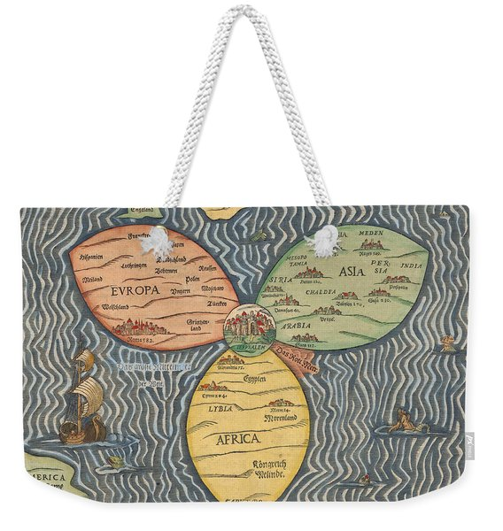 Antique Maps - Old Cartographic Maps - Antique Clover Leaf Map Of Europe, Asia And Africa Weekender Tote Bag
