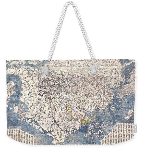 Antique Maps - Old Cartographic Maps - Antique Japanese Map Of The World, 1710 Weekender Tote Bag