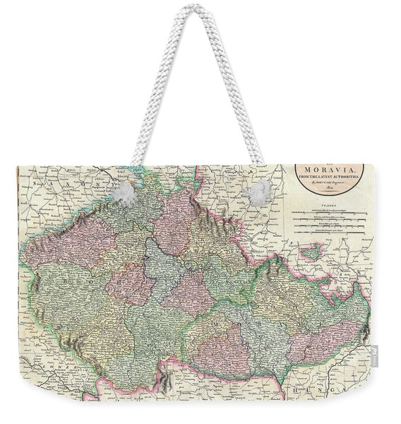 Antique Maps - Old Cartographic Maps - Antique Map Of Bohemia And Moravia, 1801 Weekender Tote Bag