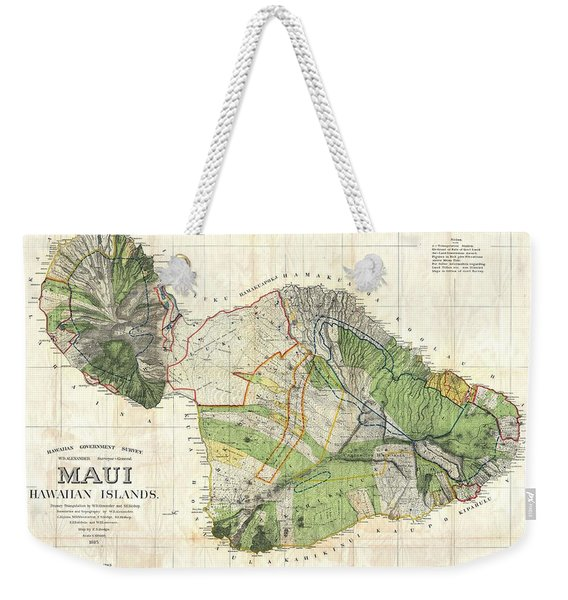 Antique Maps - Old Cartographic Maps - Antique Map Of Maui, Hawaii, 1885 Weekender Tote Bag