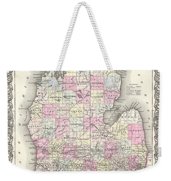 Antique Maps - Old Cartographic Maps - Antique Map Of Michigan, 1855 Weekender Tote Bag