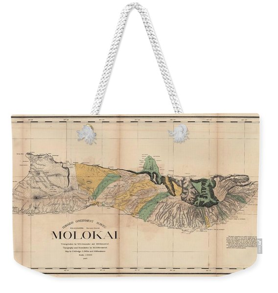 Antique Maps - Old Cartographic Maps - Antique Map Of Molokai, Hawaiian Island, 1897 Weekender Tote Bag