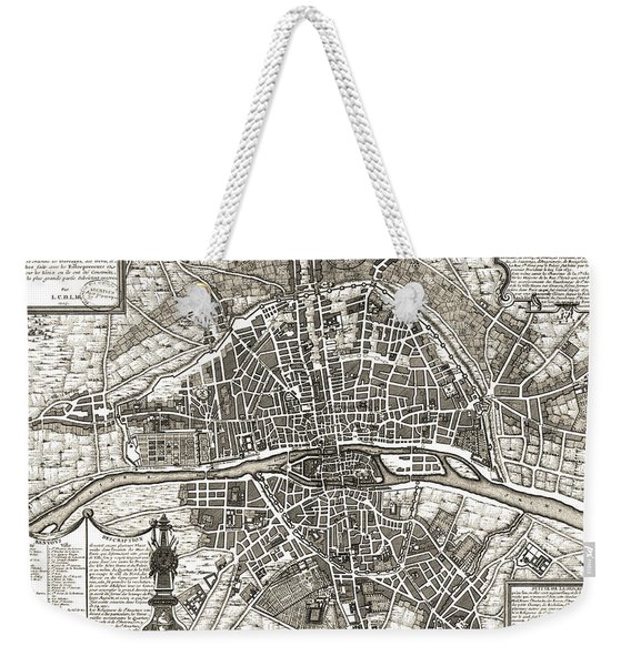 Antique Maps - Old Cartographic Maps - Antique Map Of Paris, France, 1643 Weekender Tote Bag