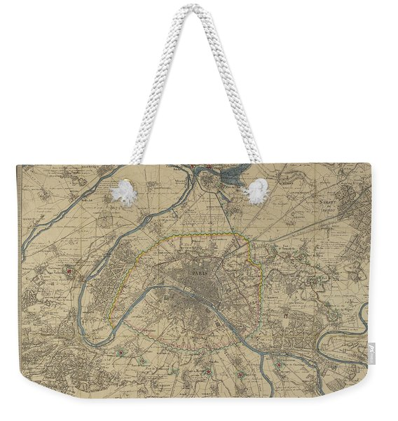 Antique Maps - Old Cartographic Maps - Antique Map Of Paris Weekender Tote Bag