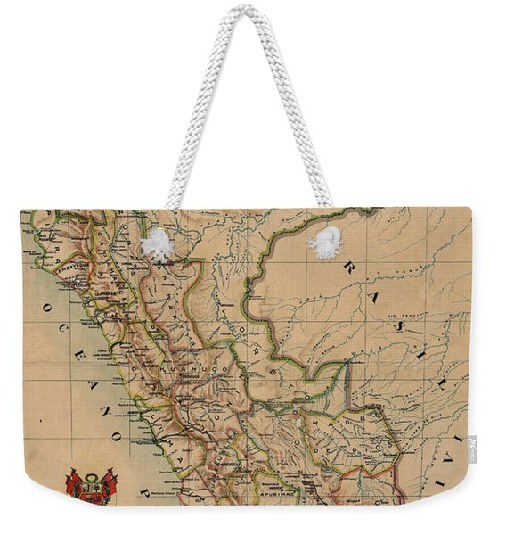 Antique Maps - Old Cartographic Maps - Antique Map Of Peru, South America, 1913 Weekender Tote Bag