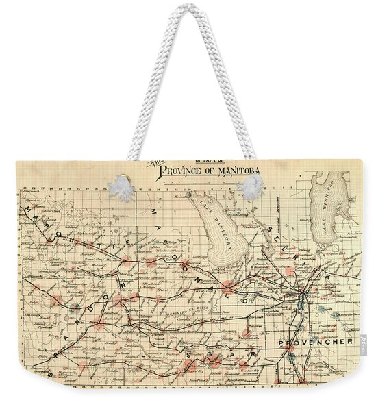 Antique Maps - Old Cartographic Maps - Antique Map Of Province Of Manitoba, 1880 Weekender Tote Bag