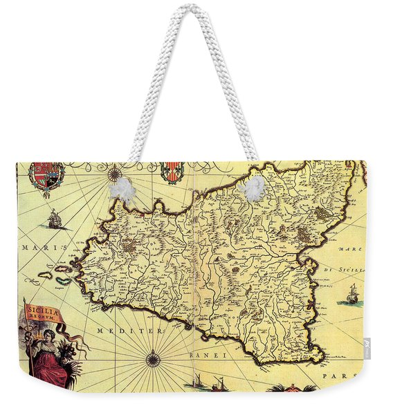 Antique Maps - Old Cartographic Maps - Antique Map Of Sicily, Italy Weekender Tote Bag