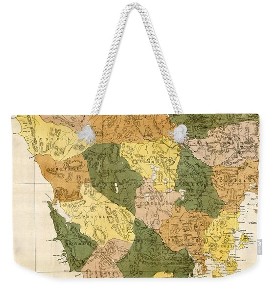 Antique Maps - Old Cartographic Maps - Antique Map Of Tasmania, 1870 Weekender Tote Bag