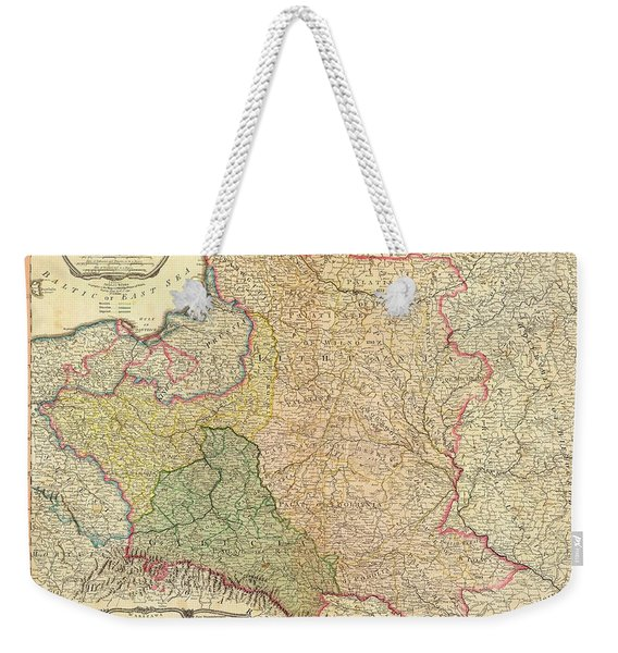 Antique Maps - Old Cartographic Maps - Antique Map Of The Kingdom Of Poland And Lithuania, 1799 Weekender Tote Bag
