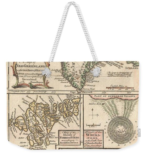 Antique Maps - Old Cartographic Maps - Antique Map Of The North Atlantic Islands, Greenland, 1747 Weekender Tote Bag