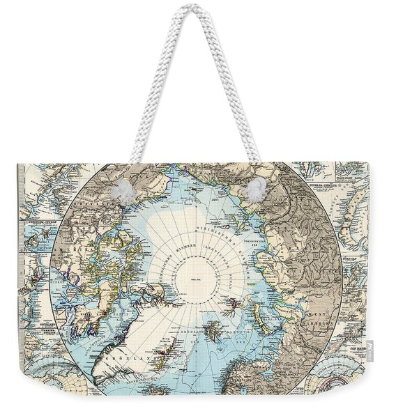 Antique Maps - Old Cartographic Maps - Antique Map Of The North Pole And The Arctic Region Weekender Tote Bag
