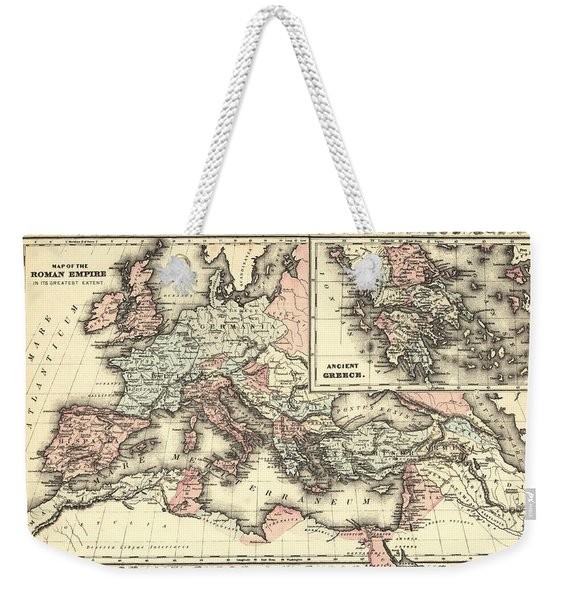Antique Maps - Old Cartographic Maps - Antique Map Of The Roman Empire, 1880 Weekender Tote Bag
