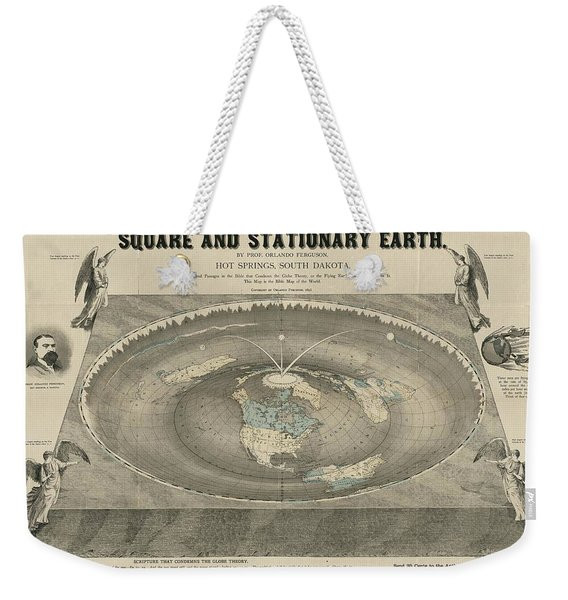 Antique Maps - Old Cartographic Maps - Antique Map Of The Square And Stationary Earth - Flat Earth Weekender Tote Bag