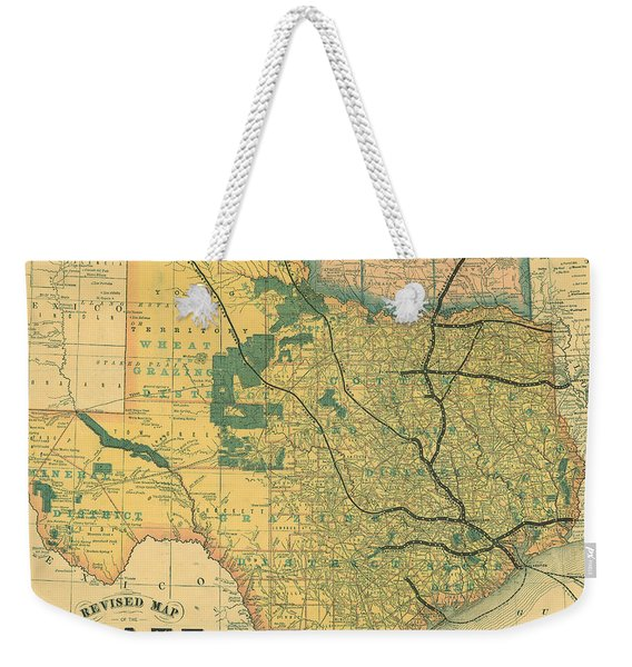 Antique Maps - Old Cartographic Maps - Antique Map Of The State Of Texas, United States, 1876 Weekender Tote Bag