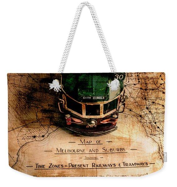 Antique Melbourne Travel Map Weekender Tote Bag