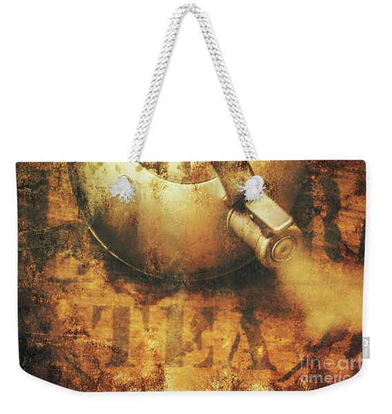 Antique Old Tea Metal Sign. Rusted Drinks Artwork Weekender Tote Bag