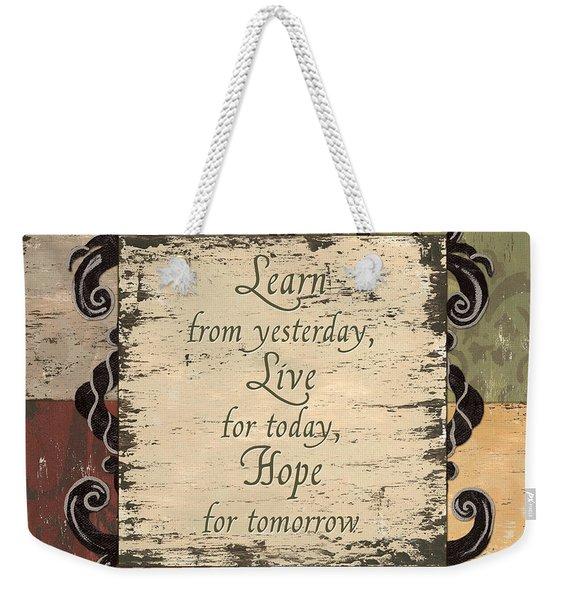 Antique Patchwork Inspirational Weekender Tote Bag