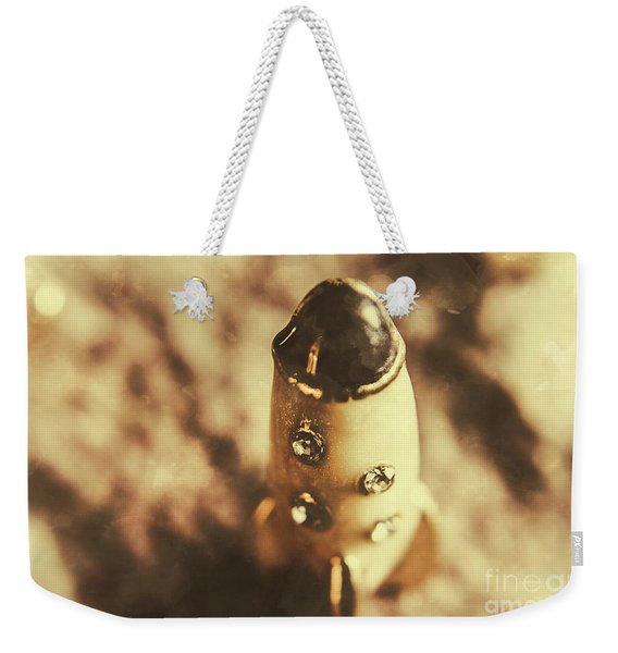 Antique Rocket Ship On Faded Asteroid Weekender Tote Bag