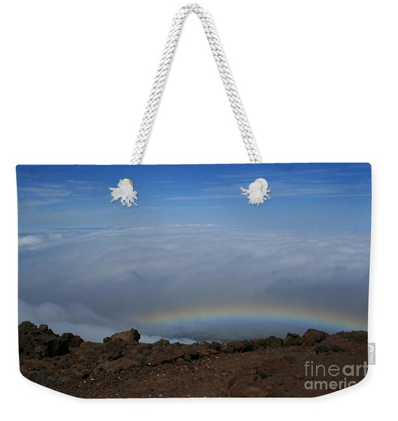 Anuenue - Rainbow At The Ahinahina Ahu Haleakala Sunrise Maui Hawaii Weekender Tote Bag