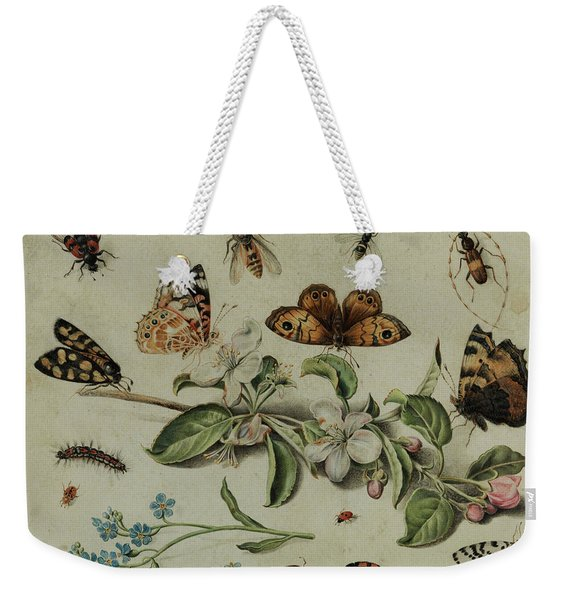 Apple Blossom Branch Between Butterflies And Insects Weekender Tote Bag