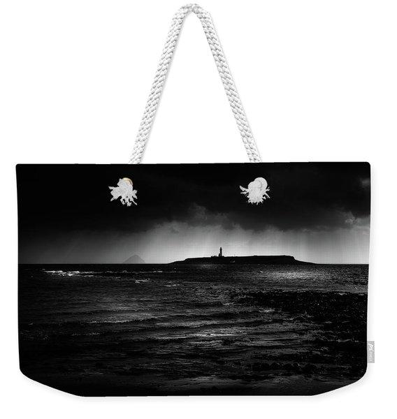 Approaching Storm, Ailsa Craig And Pladda Island Weekender Tote Bag