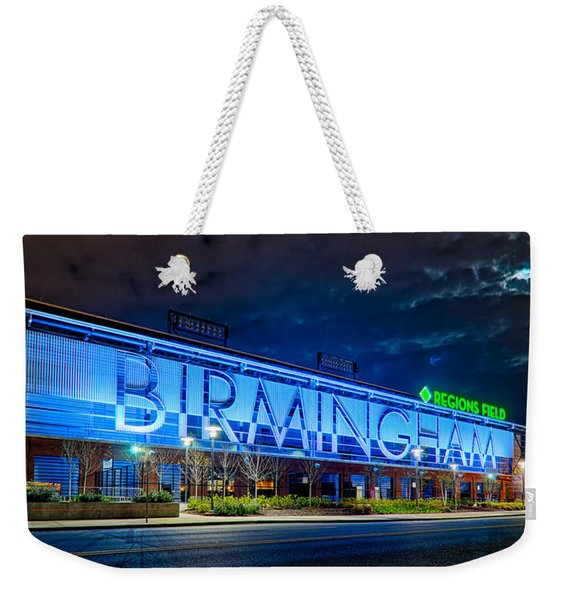 April 2015 -  Birmingham Alabama Baseball Regions Field At Night Weekender Tote Bag